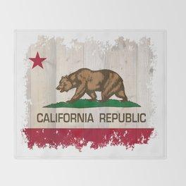 California Republic flag on woodgrain   Throw Blanket