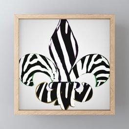 Black and White Zebra Stripe Fleur De Lis Framed Mini Art Print