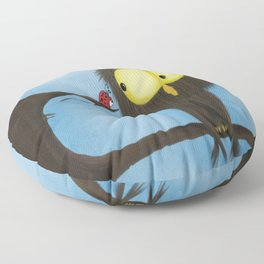 Oliver the Owl and his Visitor Floor Pillow