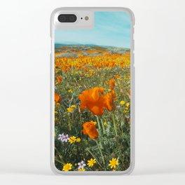 California Wildflower Poppy Superbloom Clear iPhone Case