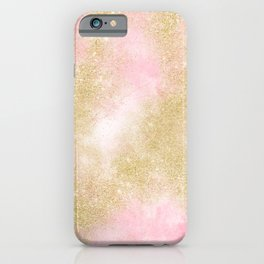 Pink watercolor gold glitter dust pattern iPhone Case