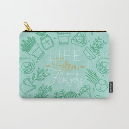 Monogram pots life better with flowers turquoise Carry-All Pouch