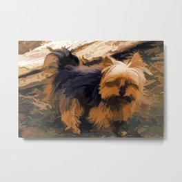 Little Yorkie  Artwork  - Yorkshire Terrier Dog Metal Print