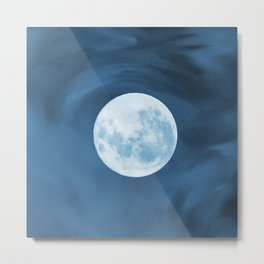 Magic Moon (full moon on a watercolored blue background) Metal Print