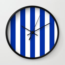 International Klein Blue - solid color - white vertical lines pattern Wall Clock