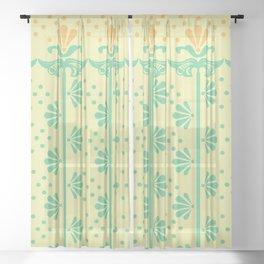 Vintage Art Deco floral pattern Sheer Curtain