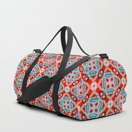 Retro Kitchen Check Cloth , Vintage Red & Blue Chequerboard Daisy flower Pattern Duffle Bag