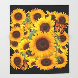 SUNFLOWER & MONARCHS IN BLACK ART Throw Blanket