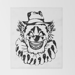 Black and white Evil Clown Throw Blanket