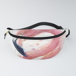 Pink Flamingo Watercolor Fanny Pack
