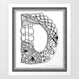 Zentangle D Monogram Alphabet Illustration Art Print