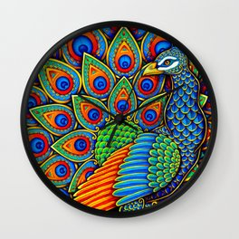 Colorful Paisley Peacock Rainbow Bird Wall Clock
