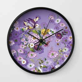 Purple Flowers II Wall Clock