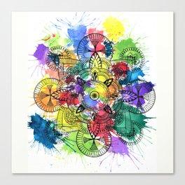 Watercolour Splash Mandala Canvas Print