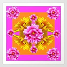 FUCHSIA PINK DAHLIAS & YELLOW SUNFLOWERS GARDEN ART Art Print
