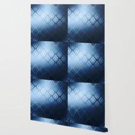 """Navy blue Damask Pattern"" Wallpaper"