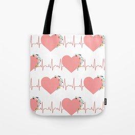 Flower ECG Hearts Tote Bag