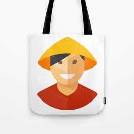 Asian Rice Farmer Icon Tote Bag