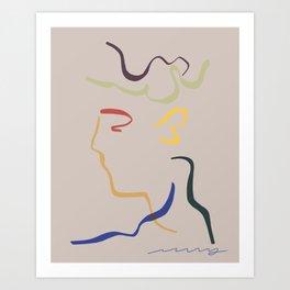 Rhett modern line drawing portrait Art Print