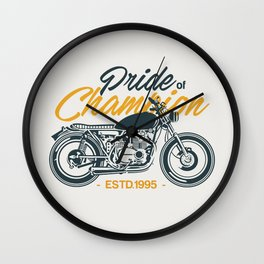 Classic Motorcycle Club Illustration Wall Clock