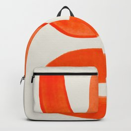 Mid Century Modern Abstract Minimalist Abstract Vintage Retro Orange Watercolor Brush Strokes Backpack