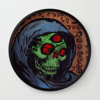 occult Wall Clocks featuring Occult Macabre by Chris Moet