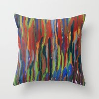 waterfall Throw Pillows featuring WATERFALL by u t a
