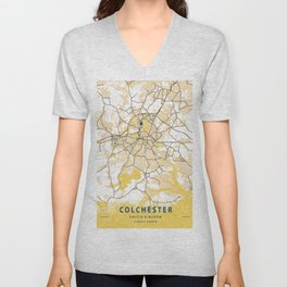 Colchester Yellow City Map Unisex V-Neck
