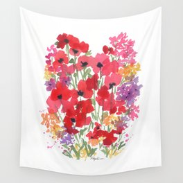 Little Red Poppy Patch Wall Tapestry