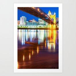 Ohio River Swirls - Cincinnati Skyline Color Art Print