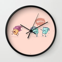 Ice cream escape ( Concept Funny Illustrations) Wall Clock