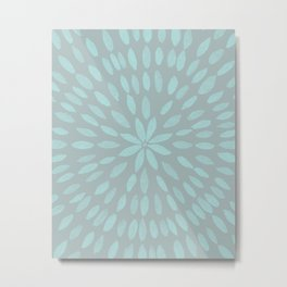Mandala Flower #3 #mint #grey #drawing #decor #art #society6 Metal Print