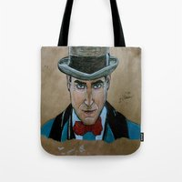 boardwalk empire Tote Bags featuring Arnold Rothstein (Boardwalk Empire) by Bina Leo Dwyer