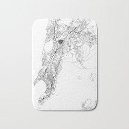 Mumbai White Map Bath Mat