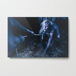Rope noose - Nude woman with a noose around her neck Metal Print
