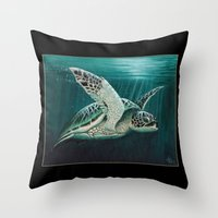 """biology Throw Pillows featuring """"Moonlit"""" - Green Sea Turtle, Acrylic by Amber Marine"""