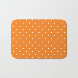 Small White Polka Dots with Orange Background Bath Mat