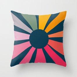 Retro Sunbeam Throw Pillow