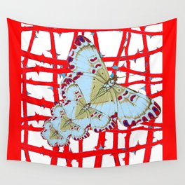 RED-WHITE MOTHS  IN SYNCHRONIZED FLIGHT Wall Tapestry