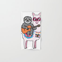 Sloth Llama Guitar Hand & Bath Towel