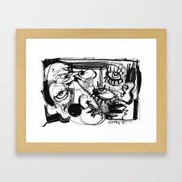 Chit-Chat - b&w Framed Art Print