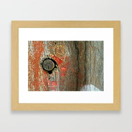 Weathered Wood Texture with Keyhole Framed Art Print