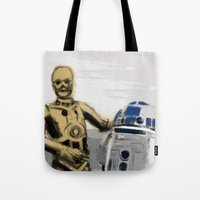 c3po Tote Bags featuring C3PO & R2D2 by Berta Merlotte