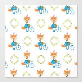 Girl Fox with Bike Pattern Canvas Print