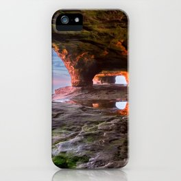 Sea Cave Sunset on Lake Superior iPhone Case