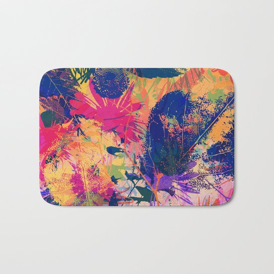 Colorful abstract leaves 2 Bath Mat