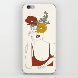 Colorful Thoughts Minimal Line Art Woman with Flowers II iPhone Skin