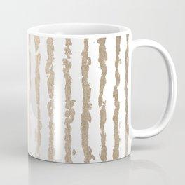 White Gold Sands Vertical Ink Stripes Coffee Mug