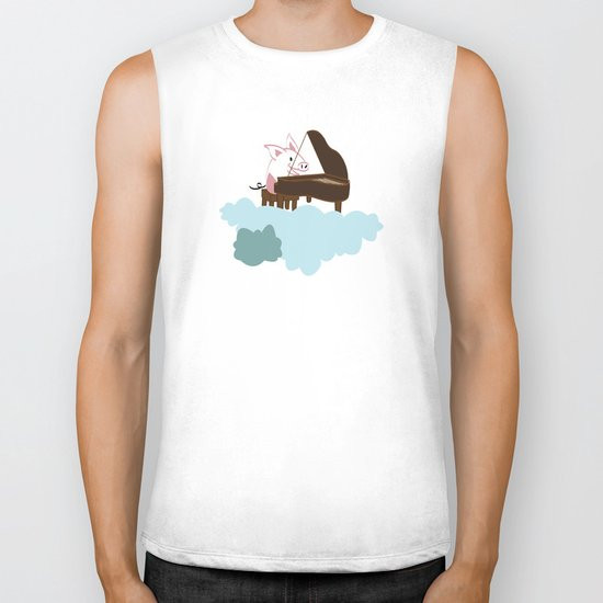 Pig Cloud-playing. Joy in the clouds collection Biker Tank