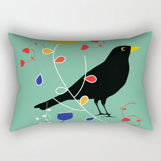 Black Bird Green Rectangular Pillow